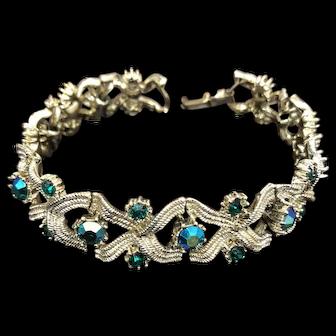 Vintage Gold Tone and Blue/Aquamarine Color Rhinestone Bracelet
