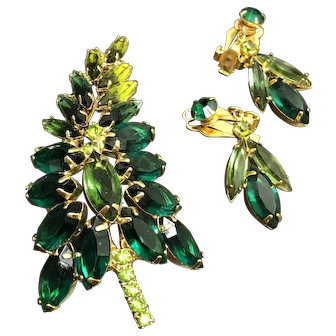 Vintage Emerald and Peridot Navette Rhinestone Demi Parure