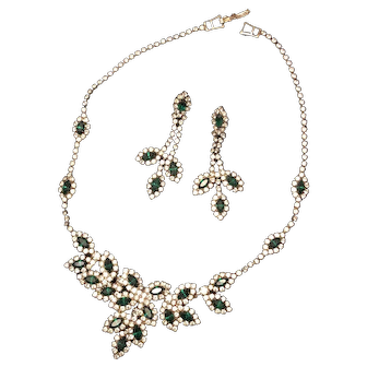 Vintage Green and Clear Color Rhinestone Necklace and Earrings Set