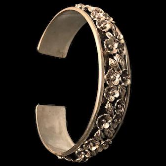 Vintage Sterling Floral Studded Cuff Bracelet