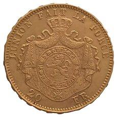 Belgium 20 Franc, 1875 Coin