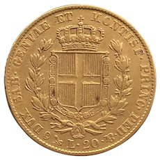 Sardinia, 20 Lire, 1847 Coin