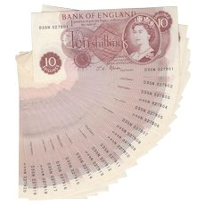 British 10 shilling note. Consecutive run of 20 notes