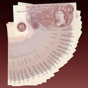 British 10 shilling note. Consecutive run of 20 notes