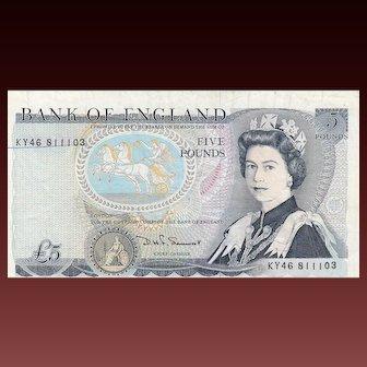 Error note. British £5 note