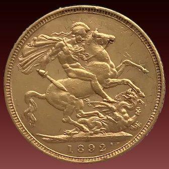 1892  Full Sovereign Coin, Victoria