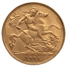 1911 Half Sovereign Coin, George V.