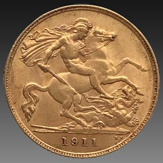 1911 Half Sovereign Coin, George V.