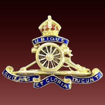 Royal Artillery Brooch. 15ct Gold, Edwardian Regimental brooch. WW1