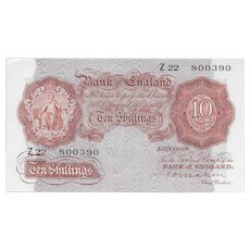Bank of England, Mahon 10 Shilling Note. First Series Z22