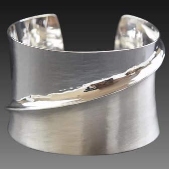 Fold Bangle in Fine Silver. One of a Kind