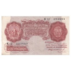 Bank of England, Catterns 10 Shilling Note. Last Series K12