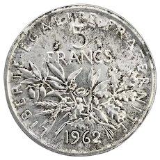 5 Franc Coin, 1962. Silver 5 Franc