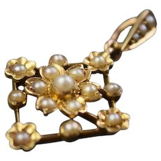 Edwardian, Pearl set, Pendant in 15ct gold.