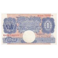 K. O. Peppiatt 1 Pound Blue 1940. Emergency Issue.