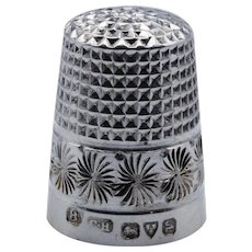 Pretty, Antique, Sterling Silver Thimble, Charles Horner, Chester, 1921