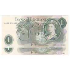 Consecutive Pair Bank of England £1 notes, J B Page. 1970