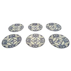 "Vintage Tiffany Delft 8-1/8"" Salad Plates - Set of 6"