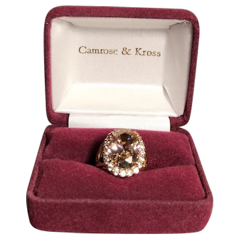 """Camrose & Kross """"Jacqueline Kennedy Collection"""" Vermeil Simulated Kunzite Ring- Size 7"""