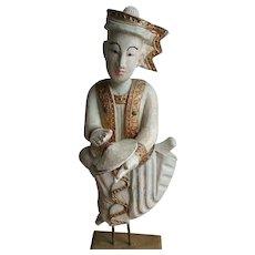 Large Burma Mandalay Rare Hand-Carved Teak Wood Sculptures of Myanmar Thai Musician Figures