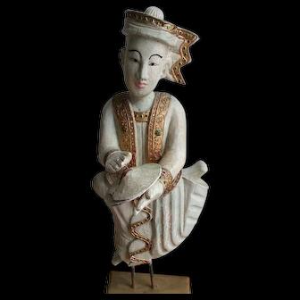 Large Burma Mandalay Rare Hand-Carved Teak Wood and Plaster Antique Sculptures of Myanmar Thai Musician Figures