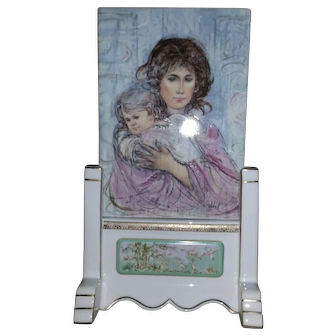 """EDNA HIBEL Porcelain Art Tile / Plaque """"Fleeting Moment"""" Ltd.Edn. 1,000 w/ Stand"""