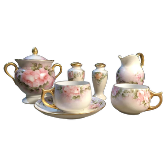 Hand-painted assorted set of Fine China from Royal EPIAG and Thomas Bavaria signed by artist A. Kendall 1939