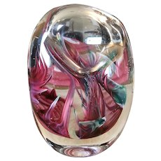 Vintage Signed Robinson Scott '96 Oval Crystal Art Glass Sculpture/Paperweight