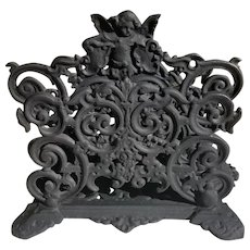 1950's Iron Art Cherub cast iron letter/napkin holder
