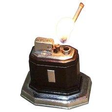 Working Ronson Touch Tip Lighter 1930s Octette Table Lighter Art Deco Chrome/Maroon Enamel