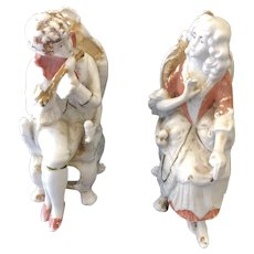 C. 1880 Unger, Schneider & Co. Porcelain Seated Couple Figurines