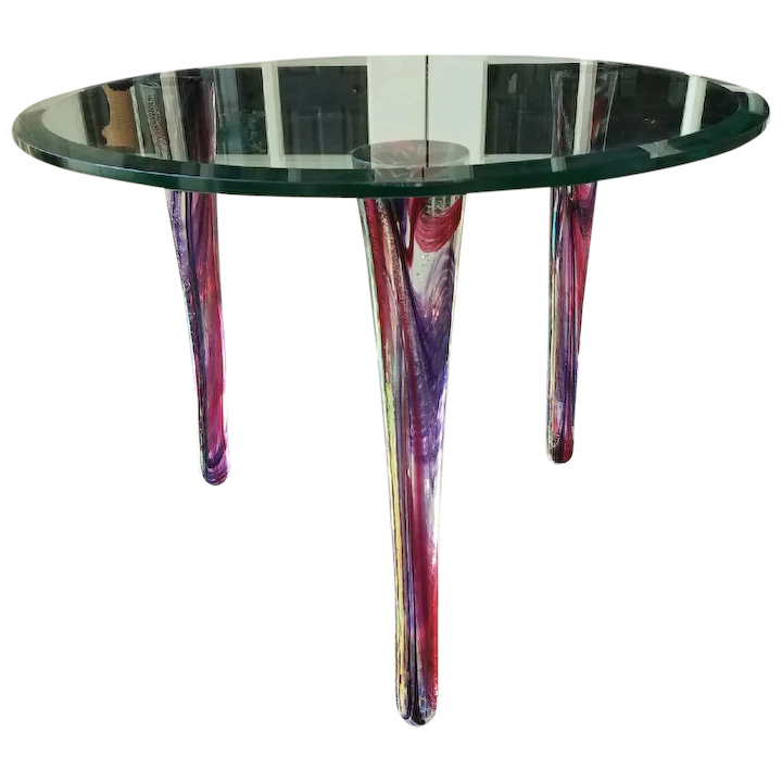 Mid Century Modern Gl Accent Table Signed By Artist