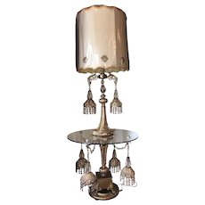 Mid-Century Multi-Tiered Crystal/Prism Brass Floor Lamp With Glass Table Inset and Embroidered Shade