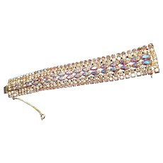 "Vintage Sherman 1""x7"" bracelet w/Swarovski Austrian Crystals Aurora Borealis color"