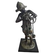 Bronze Achille d'Orsi signed sculpture of Fisherboy w/Amphorae (Late 19th century)