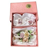 Capodimonte Pink Rose Brooch and Earring set by Carlo Savastano