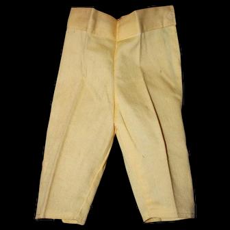 Vintage 1940's Yellow Capri/Peddle Pusher Doll Pants.