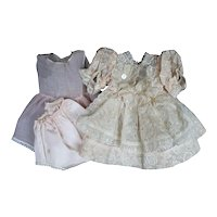 Doll Clothes - Peachy Pink Flocked Cotton Organdy/Batiste Dress, 1940's