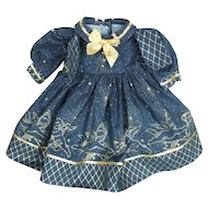 Doll Clothes - Navy Blue Dress, Metallic Trim of 100% Mylar, 1970/80's