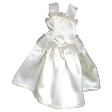 """Doll Clothes - White Satin Gown for Hard Plastic 12"""" to 14"""""""