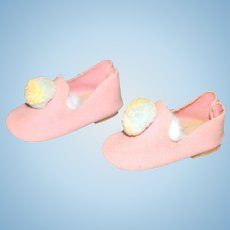 Doll Shoes - Pink Faux Suede Pink Terri Lee Shoes.