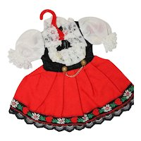 Doll Dress for Smaller Doll, plus Little Cloth Purse and Strange Hat.