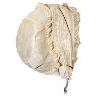 """Vintage Fabulous Doll Bonnet for Doll Head 13"""" to 15""""."""