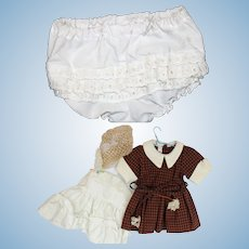 Doll Clothes - Tagged Terri Lee Dress, Slip, Panties and Hair Net.