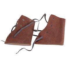 Doll Shoes, Brown Suede Cloth, Tie.