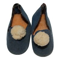 Doll Shoes, Medium Blue Suede Cloth.