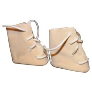 Doll High Top Beige Suede Cloth Shoes.
