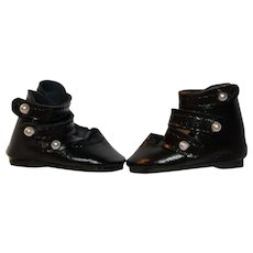 Doll Shoes of Black Leatherette.
