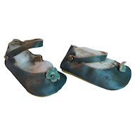 Doll Shoes of Turquoise Fabric with Side Snap Strap