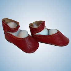 Doll Shoes Red Leatherette, Mint Condition Center Snap.